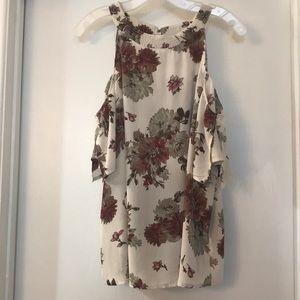 Off shoulder halter top blouse with flower print